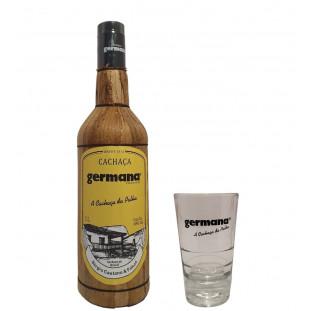 Cachaça Germana Palha 1000 ml, Brinde Copo Germana