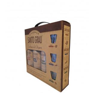 Kit Cachaça Santo Grau Com 3 Garrafas 375 ml + 3 Copos